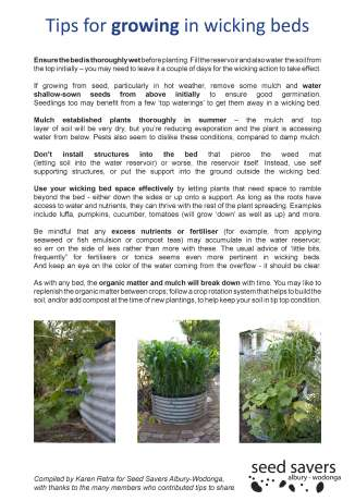growing tips for wicking beds factsheet