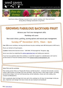 workshop flyer for growing fabulous backyard fruit with Seed Savers Albury-Wodonga